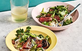 Rice noodle salad with grilled steak, lime and Vietnamese mint