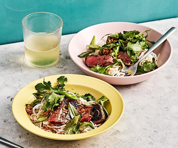 "**[Rice noodle salad with grilled steak, lime and Vietnamese mint](https://www.gourmettraveller.com.au/recipes/fast-recipes/beef-noodle-salad-18061|target=""_blank"")**"