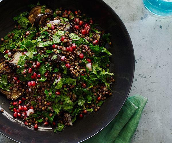 "[**Grilled eggplant salad with lentils and sesame yoghurt**](https://www.gourmettraveller.com.au/recipes/browse-all/grilled-eggplant-salad-with-lentils-and-sesame-yoghurt-12184|target=""_blank"")"