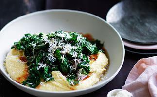 Braised kale with mascarpone polenta