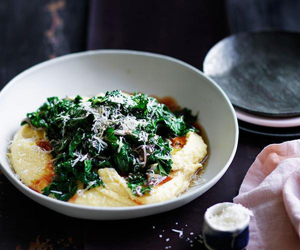 "[**Braised kale with mascarpone polenta**](https://www.gourmettraveller.com.au/recipes/fast-recipes/braised-kale-with-mascarpone-polenta-13621 target=""_blank"")"