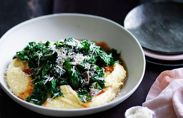 Braised kale with mascarpone polenta
