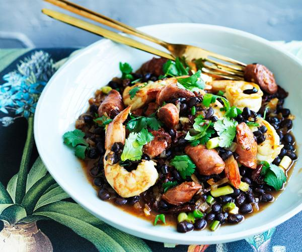 """**[Prawns with black beans, chorizo and chipotle](https://www.gourmettraveller.com.au/recipes/fast-recipes/prawns-with-black-beans-chorizo-and-chipotle-13733 target=""""_blank"""")**"""