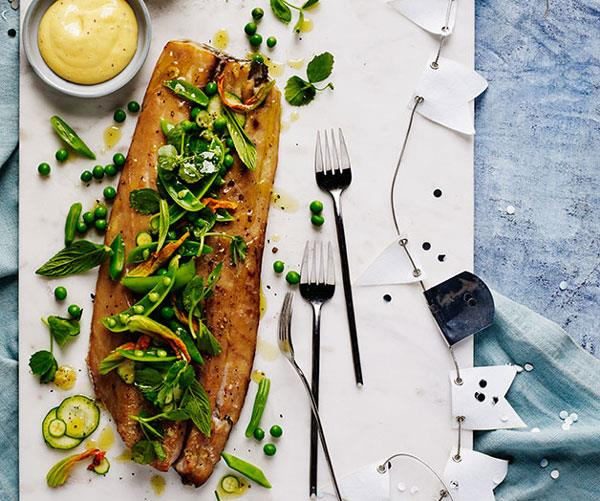 """[**Hot-smoked mullet with zucchini flowers, peas and mint**](https://www.gourmettraveller.com.au/recipes/browse-all/hot-smoked-mullet-with-zucchini-flowers-peas-and-mint-12409