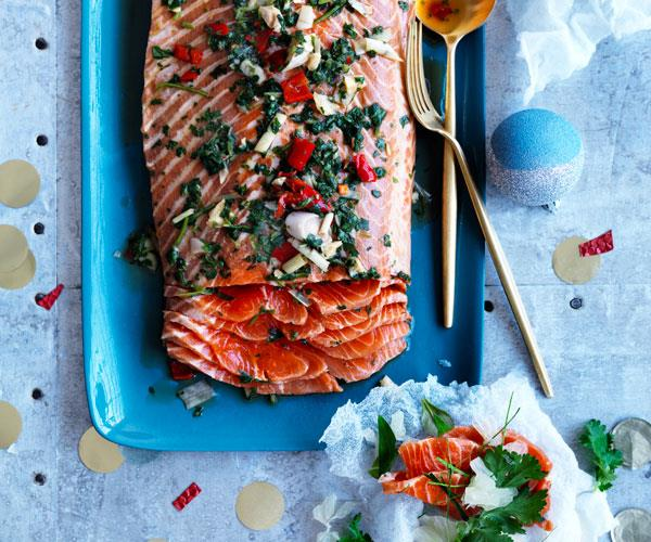 Asian-style cured trout with rice paper crackers