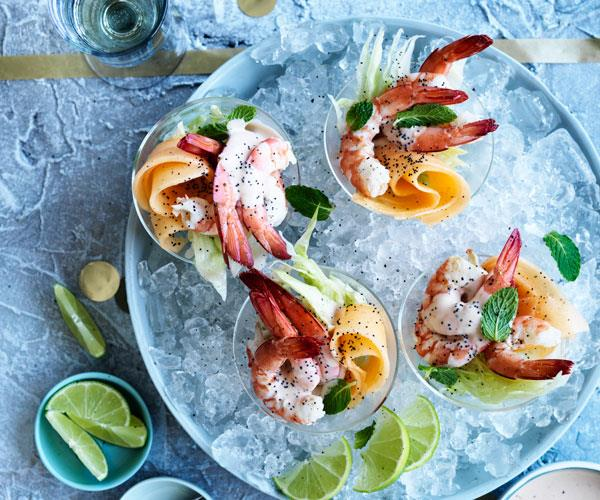 Rockmelon, lime and poppy-seed prawn cocktails