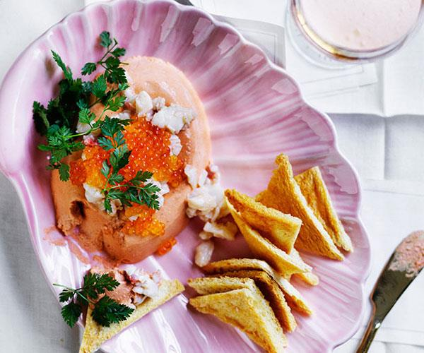 """**[Lobster mousse](http://www.gourmettraveller.com.au/recipes/browse-all/lobster-mousse-12663