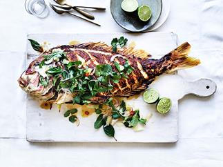 Barbecued lemongrass snapper with pomelo and herb salad