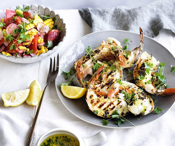 """**[Barbecued lobster tails with lemon drawn butter and corn-radish salad](http://www.gourmettraveller.com.au/recipes/browse-all/barbecued-lobster-tails-with-lemon-drawn-butter-and-corn-radish-salad-12955