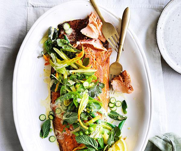 Smoked ocean trout with beans, peas and mint
