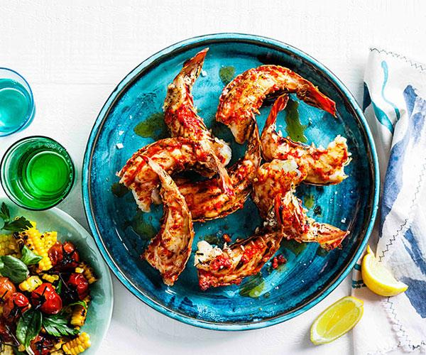 "**[Grilled lobster tails with roast chilli butter and corn salad](https://www.gourmettraveller.com.au/recipes/browse-all/grilled-lobster-tails-with-roast-chilli-butter-and-corn-salad-14321|target=""_blank"")**"