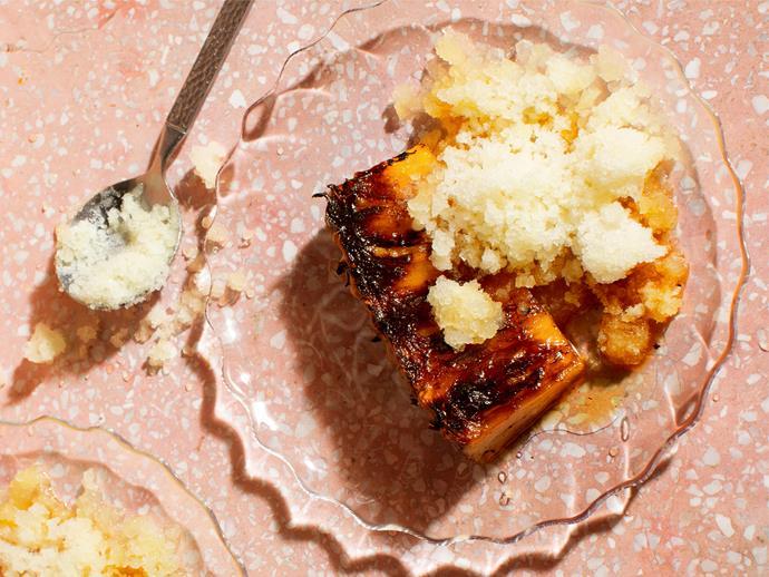 "**[La Casita's grilled pineapple with mulato chilli and pineapple granita](https://www.gourmettraveller.com.au/recipes/chefs-recipes/grilled-pineapple-granita-18090|target=""_blank"")**"