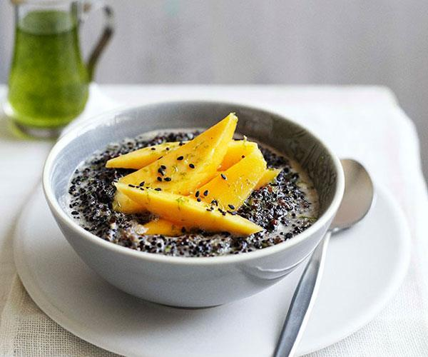 Black quinoa with coconut, mango and kaffir lime syrup
