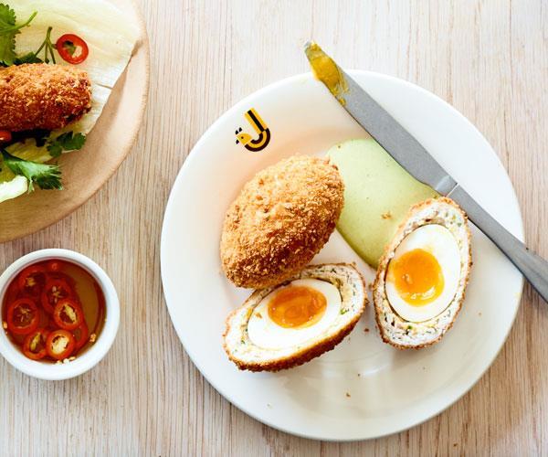 "**[JoyBird's chicken Scotch eggs with tarragon mayonnaise](https://www.gourmettraveller.com.au/recipes/chefs-recipes/chicken-scotch-eggs-17956 target=""_blank"")**"