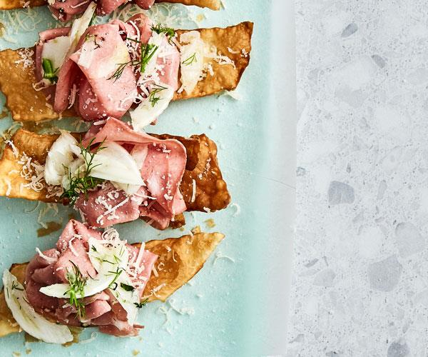 """**[Cheat's gnocco fritto](https://www.gourmettraveller.com.au/recipes/fast-recipes/gnocco-fritto-18062