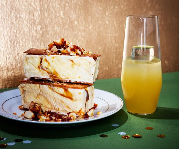 Salted-caramel macadamia ice-cream sandwiches