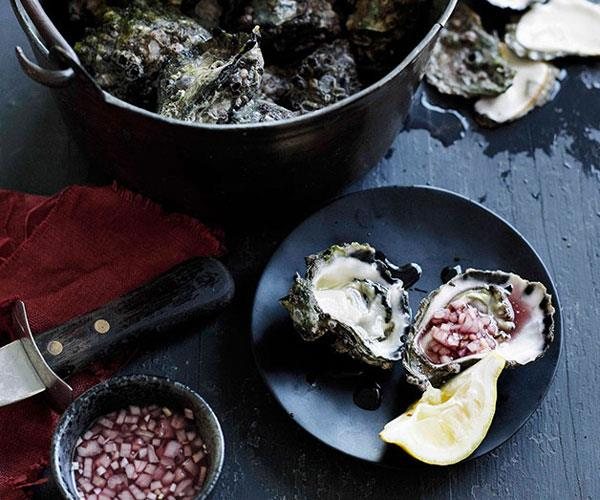 Freshly shucked oysters and mignonette