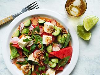 Tofu, watermelon and radish salad with nahm jim