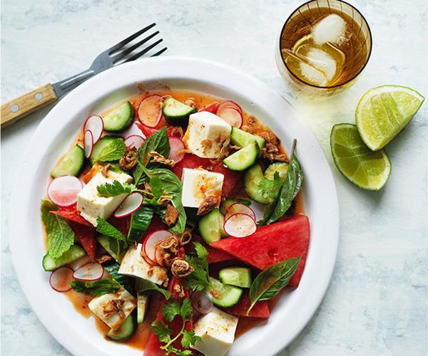 "**[Tofu, watermelon and radish salad with nahm jim](https://www.gourmettraveller.com.au/recipes/fast-recipes/tofu-watermelon-and-radish-salad-with-nahm-jim-13880|target=""_blank"")**"