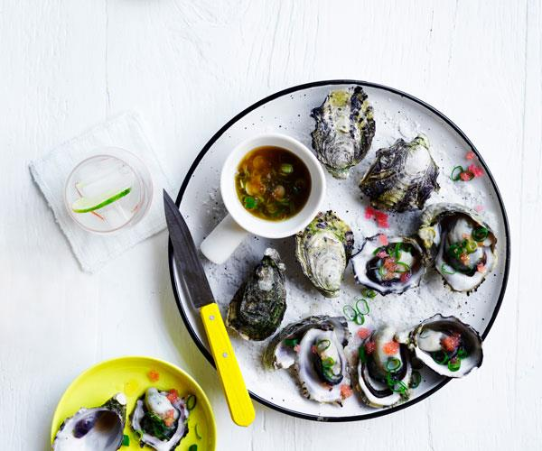 "**[Barbecued oysters with finger-lime mignonette](https://www.gourmettraveller.com.au/recipes/browse-all/barbecued-oysters-finger-lime-mignonette-15826|target=""_blank"")**"