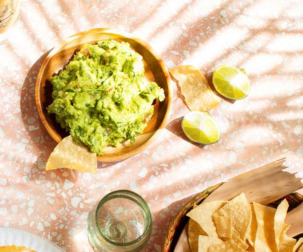 Guacamole with jalapeño and totopos