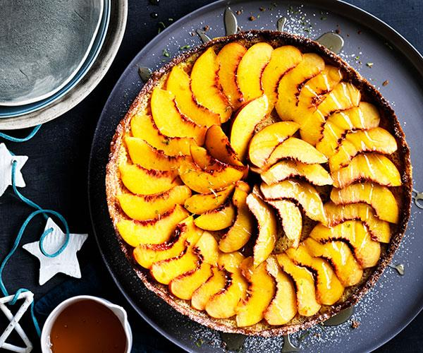 "**[Peach and buttermilk tart](https://www.gourmettraveller.com.au/recipes/browse-all/peach-and-buttermilk-tart-12676|target=""_blank"")**"