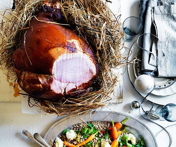 Ham baked in hay with roast carrot and barley salad