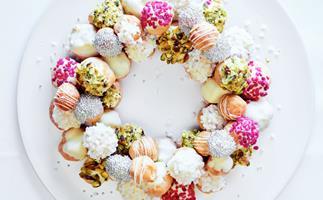 Lauren Eldridge's white chocolate and pistachio profiterole wreath