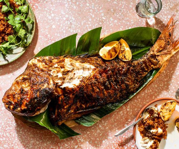 "**[La Casita's whole barbecued fish with sour-orange glaze](https://www.gourmettraveller.com.au/recipes/chefs-recipes/whole-fish-sour-orange-glaze-18076|target=""_blank"")**"