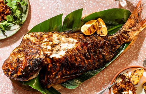 Whole fish with sour-orange glaze