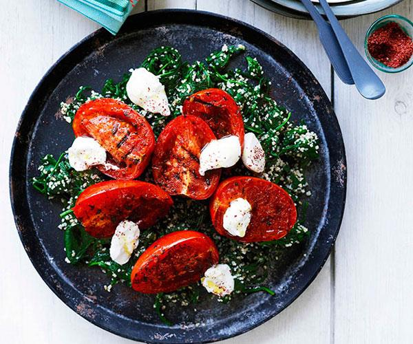 """**[Spinach and burghul with grilled tomatoes and labne](https://www.gourmettraveller.com.au/recipes/browse-all/spinach-and-burghul-with-grilled-tomatoes-and-labne-10362