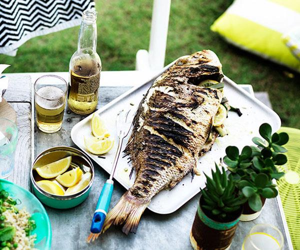 "**[Whole barbecued fish with lemon](https://www.gourmettraveller.com.au/recipes/browse-all/whole-barbecued-fish-with-lemon-11876|target=""_blank"")**"