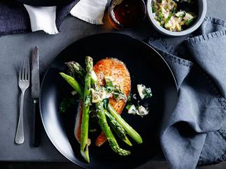 Grilled salmon chops with asparagus and lemon relish