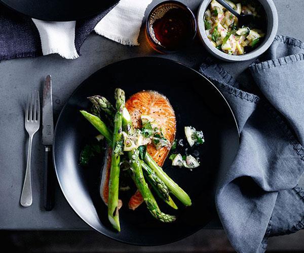 "[**Grilled salmon chops with asparagus and lemon relish**](https://www.gourmettraveller.com.au/recipes/browse-all/grilled-salmon-chops-with-asparagus-and-lemon-relish-12432 target=""_blank"")"