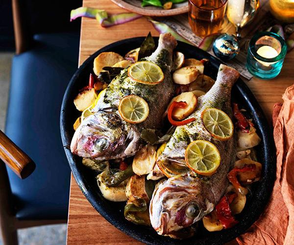 """**[Frank Camorra's dorada al fondo con patatas (marinated whole snapper baked on potatoes and peppers)](https://www.gourmettraveller.com.au/recipes/browse-all/marinated-whole-snapper-baked-on-potatoes-and-peppers-dorada-al-fondo-con-patatas-11159