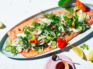 Roast ocean trout with cucumber and preserved lemon salad
