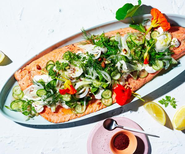 "**[Roast ocean trout with cucumber and preserved lemon salad](https://www.gourmettraveller.com.au/recipes/browse-all/roast-trout-cucumber-salad-18038|target=""_blank"")**"