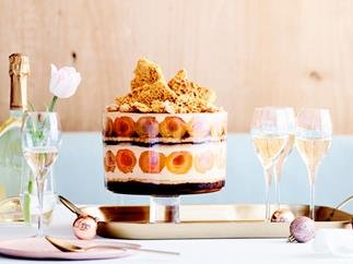 Apricot, honey, coffee and macadamia trifle