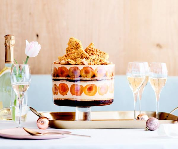 Apricot, honey, coffee and macadamia trifle
