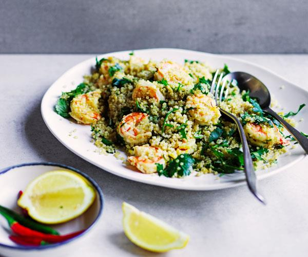 Prawns with saffron and quinoa
