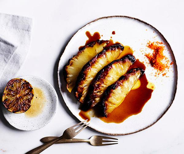 "**[Roasted pineapple with chilli salt](https://www.gourmettraveller.com.au/recipes/chefs-recipes/roasted-pineapple-with-chilli-salt-8636|target=""_blank"")**"