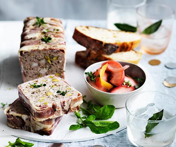 "**[Turkey and pistachio terrine with pickled nectarines](https://www.gourmettraveller.com.au/recipes/browse-all/turkey-and-pistachio-terrine-with-pickled-nectarines-12664|target=""_blank"")**"