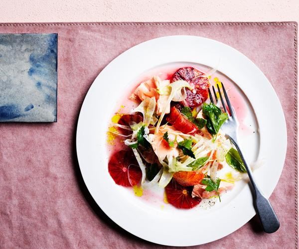 Flaked trout, blood orange and fennel salad