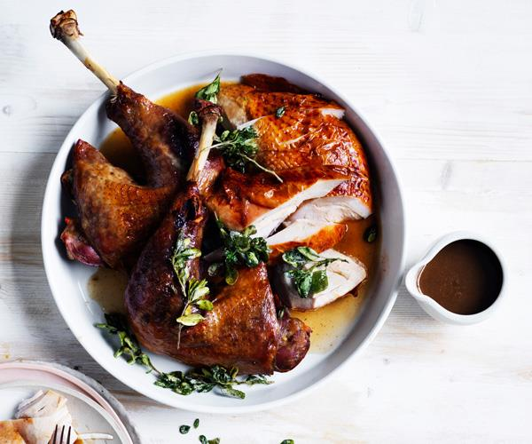 Roast turkey with native herbs and spices