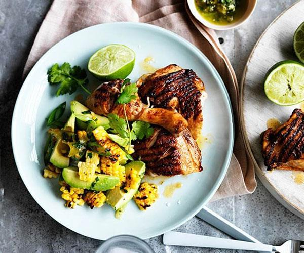 """**[Barbecued spiced chicken with corn, avocado and lime](https://www.gourmettraveller.com.au/recipes/fast-recipes/barbecued-spiced-chicken-with-corn-avocado-and-lime-13547