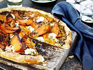 Pumpkin, goat's curd and thyme tart