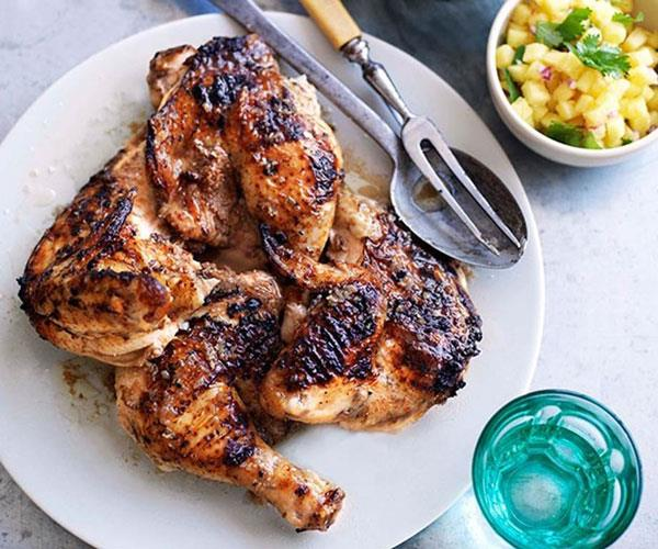 Jerk chicken with coconut rice and pineapple relish