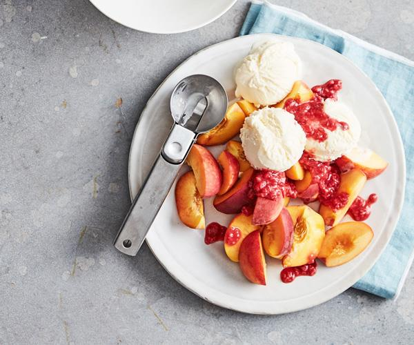 "**[Fast peach Melba](https://www.gourmettraveller.com.au/recipes/fast-recipes/peach-melba-18055|target=""_blank"")**"