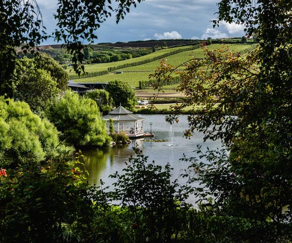 The gardens and lake at Josef Chromy Wines.
