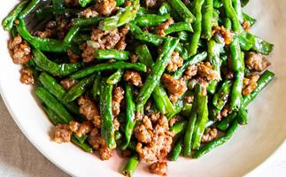 Louis Tikaram's stir-fried snake beans with pork
